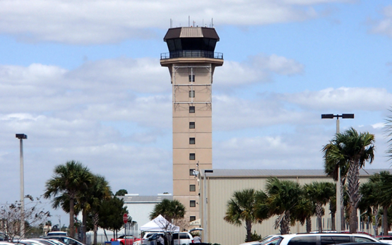 Airport Traffic Control Tower - A 147 foot tall air traffic control tower at the Punta Gorda Airport in Charlotte County, Florida.